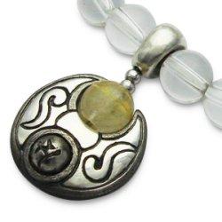 画像1: 梵字アクセサリー シルバーアクセ パワーストーンブレス「守の環」 ルチルクオーツ 水晶SA 6mm玉