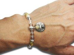画像3: 梵字アクセサリー シルバーアクセ パワーストーンブレス「守の環」 ルチルクオーツ 水晶SA 6mm玉