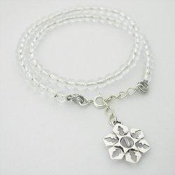 画像2: 雪の結晶アクセサリー ブレス 「氷雪の結晶」 腕輪 水晶(我想創作工房)
