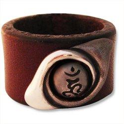画像2: 梵字 シルバー リングF レザー:永遠(とわ) 梵字アクセサリー