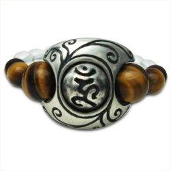 画像1: 梵字アクセサリー パワーストーン シルバー リング【魂玉の指輪:蔦(つた)】タイガーアイ