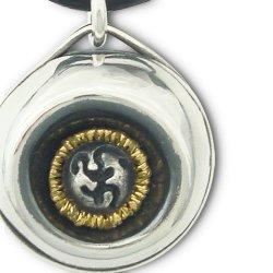画像1: 梵字アクセサリー シルバーアクセ ペンダントR:魂の光輝彩(こうきさい)革ヒモ