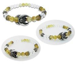 画像2: 梵字アクセサリー シルバーアクセ パワーストーン ルチルクォーツ・水晶ブレス「月光の環」 18号 ルチルクォーツAA++ 水晶SA